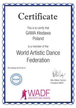 Jesteśmy członkiem World Artistic Dance Federation